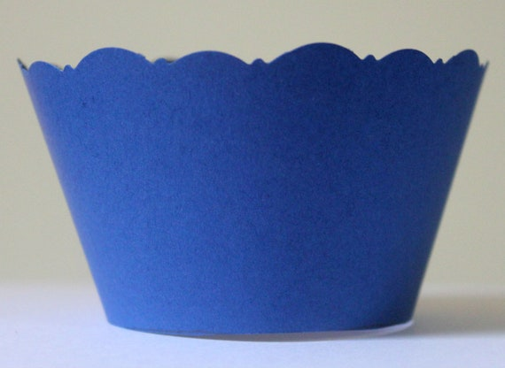 12 Blue Cupcake Wrappers Dark or Pale Blue