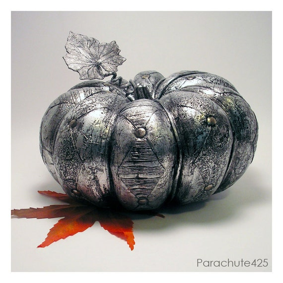 Silver Harlequin Pumpkin, decoupage, Halloween, macabre, goth, spooky, black and silver, Thanksgiving