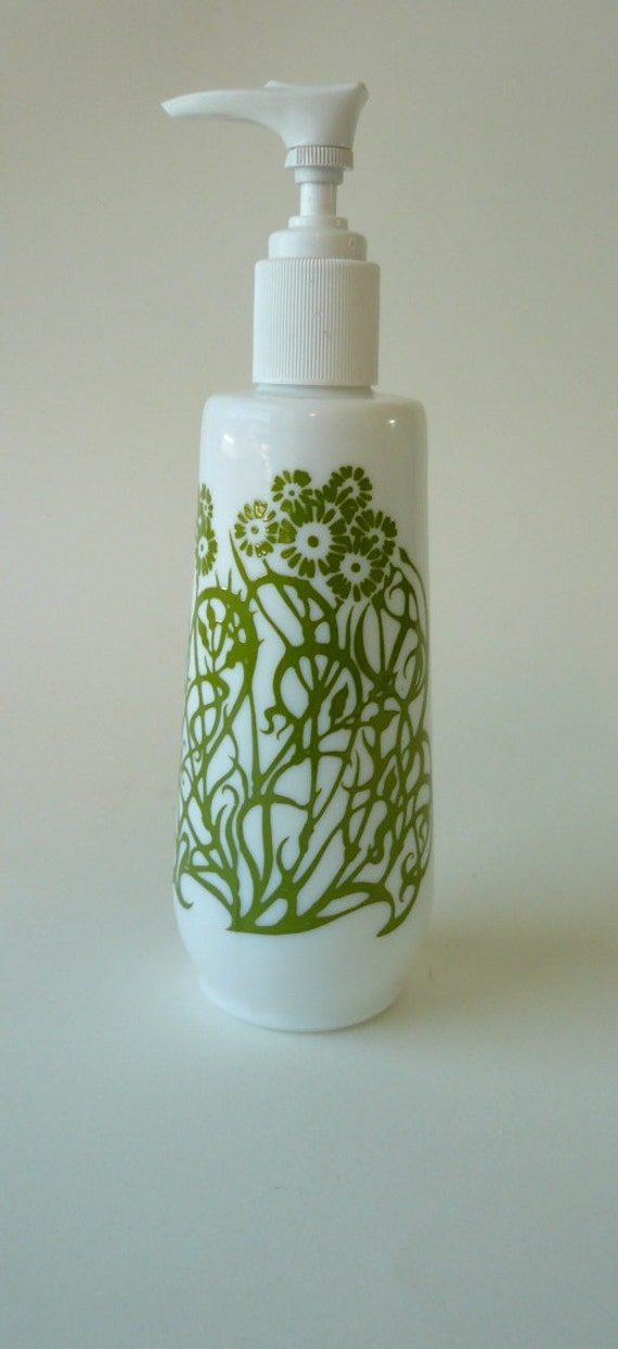Art Noveau Porcelain Dispenser, lotion, soap olive green