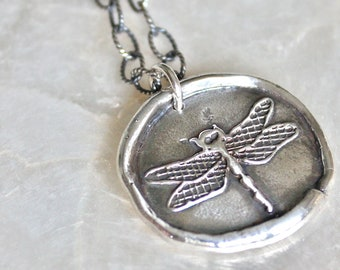 Dragonfly Wax Seal Necklace of Handcrafted Fine and Sterling Silver - Recycled Silver - Eco Friendly