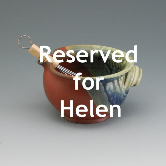 RESERVED FOR HELEN Handmade Pottery Batter Bowl Cinnamon brown fern green blue by Mark Hudak