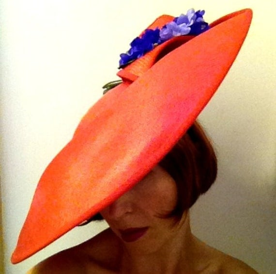 1980s Vintage Summery Red Saucer Hat with Vintage Flowers by ROYAL Milliner Philip Somerville
