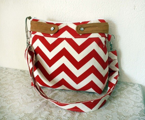 Crossbody Chevron Purse/ Nautical look// Red stripes & faux suede trim---MADE TO ORDER--