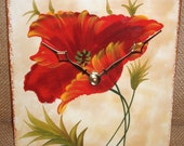 Wall Clock -  Red Poppy Ceramic Tile Wall Clock No. 937 (7 inches)