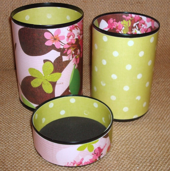 Pencil Cups Pink Chartreuse and Brown Floral and Polka Dot Pencil Holder Desk Accessory Set No. 203