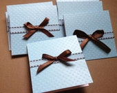 Set of 10 Mini Cards - Brown and Blue - 4x4- Blank inside