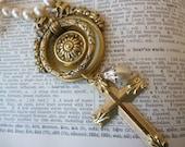 Vintage Charm Necklace Golden Cross Real Door Knocker Glass Pearls - KNOCKING on HEAVEN'S DOOR