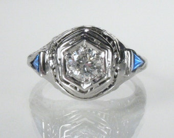 Antique Diamond Filigree Ring With Synthetic Sapphire Accents- Engagement Ring