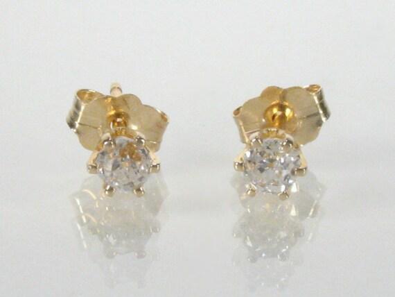 Old Mine Cut Diamond Earrings - 0.26 Carat Total Weight