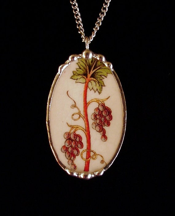 Broken china jewelry necklace pendant oval Vintage grapes vineyard antique broken china plate