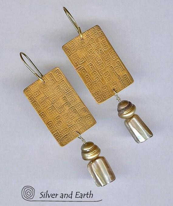 SALE - Gold Brass Earrings w- Gold Pearls, Abalone Nuggets & Hand Stamped Greek Key Pattern - Sale Jewelry - Gold Brass Jewelry