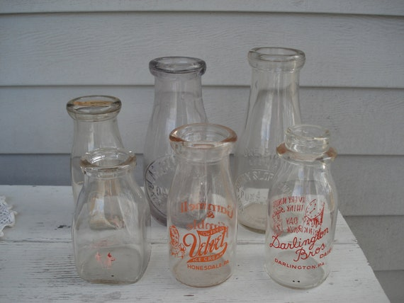 Instant Collection Vintage Antique Glass Milk Bottles Country Chic Vases