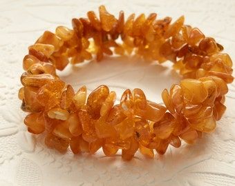 Charming Rich Honey Baltic Amber Beadweaved Stretch Bracelet