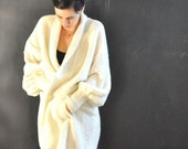 Vintage 80s White Oversize Cardigan Wrap Sweater