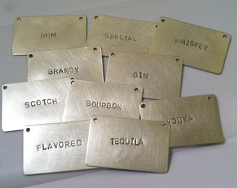 Liquor Bottle Tags -- set of 8 --  choice of ribbon color