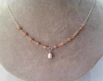 Pink Coral and Freshwater Pearl necklace