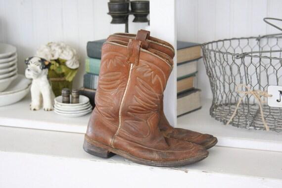 Vintage Kids Brown Leather Cowboy Boots