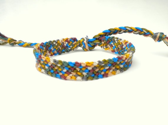 Friendship Bracelet - Plaid - Blue, Green, Yellow, Brown