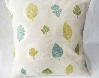 "Leaves Pillow cover beige, olive, green, teal, modern decor pillow, textured leaves, 16 inch, 14"", 12x16"" cushion slip, upholstery fabric"