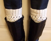 Crochet Boot Cuffs in Vanilla Cream - Vanilla Cream Boot toppers - Leg warmers - Boot Socks