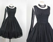 R E S E R V E D 1950s Dress - Vintage 50s Designer Black Chiffon Cocktail Party Dress Bust Shelf Draped Train S M - India Ink