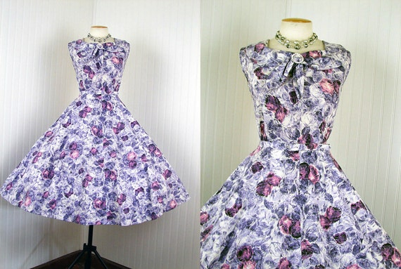 R E S E R V E D 1950s Dress - Vintage 50s Cotton Purple Pink Roses Party Tea Sundress L - Must Be Angels