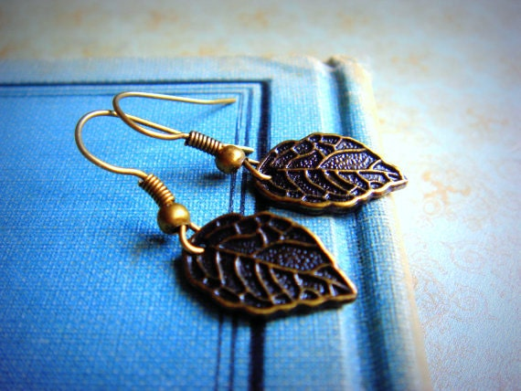 ON SALE - Simple. Sweet. Petite Leaf - Earrings - Antiqued Brass Charms