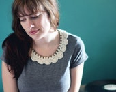 Cream Crocheted Lace and Chain Collar Necklace