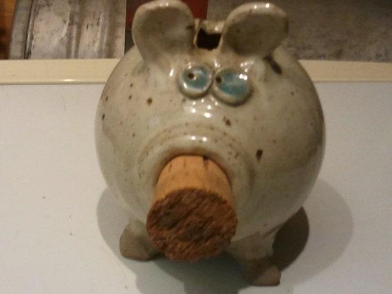 Vintage Ceramic Cork Nose Piggy Bank Signed