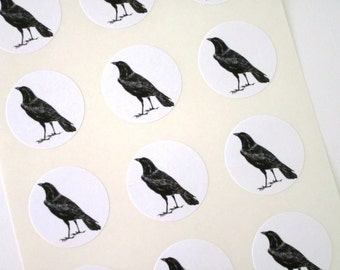 Black Raven Crow Stickers One Inch Round Seals