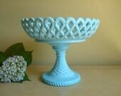 Challinor, Taylor blue glass compote, 1890s EAPG footed fruit bowl, robin's egg blue milk glass, pedestal base comport, antique milk glass