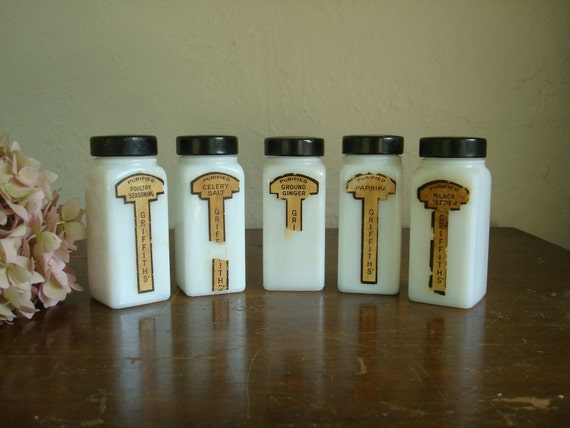 Griffith milk glass spice jars, 5, Chicago 1930-40s