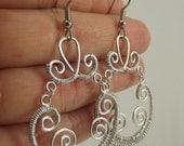 Matte Silver Wire Wrapped Earrings, Silver Earrings, Chandelier Earrings