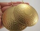 Large Medallion Brass Earrings, Vintage Brass Earrings, LAST PAIRS