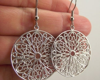 Silver Filigree Medallion Earrings, Silver Earrings