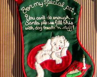 Vintage Dog Christmas Stocking - For My Special Pet - Dog Xmas Sock