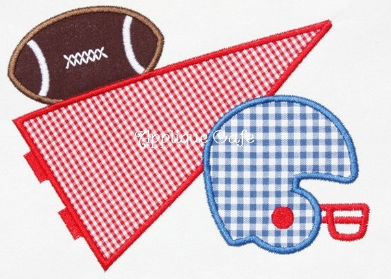 358 Football Pennant Machine Embroidery Applique Design