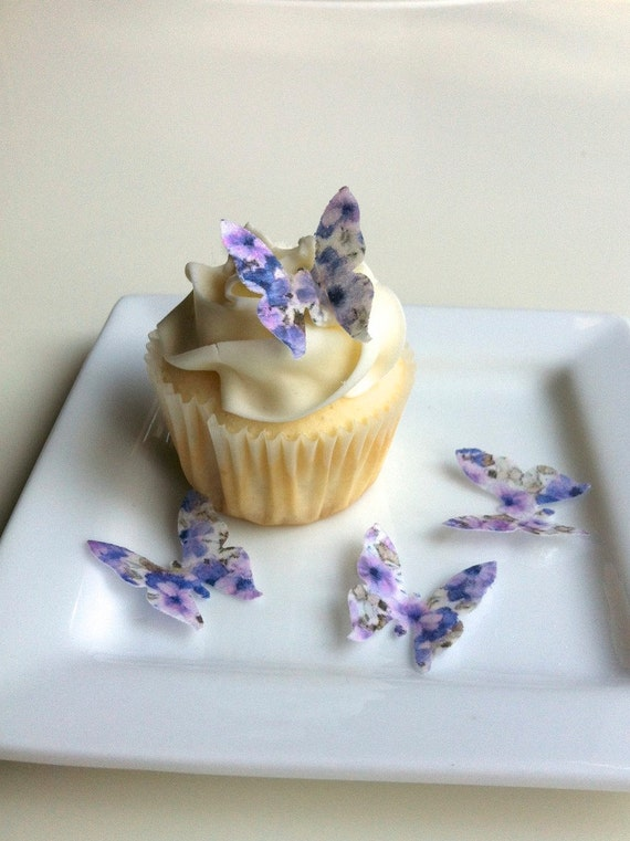 Edible Mini Butterflies - Floral Print 2 dozen - Cake & Cupcake toppers - Food Decoration