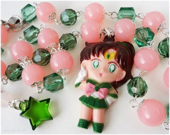 Sailor Jupiter Necklace, Pink and Green, Silver Plated - Sailor Moon Jewelry, Anime