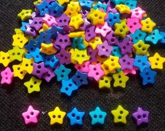 100 pcs -   Cute Star button 2 hole   - mix neon color - size 10 mm