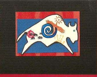 BENEFIT Native American Indian CARDS Pony and Buffalo set of 4 FryBreadLove.org