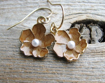 Botanical Gold Filled Earrings Botanical Jewelry Gold Finish Flower Charms and Gold Filled Hooks Golden Cherry Blossoms