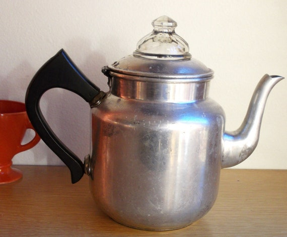 Mirro Percolator Coffee Maker : Vintage Mirro Aluminum Stovetop Coffee Pot by MostlyMadelines