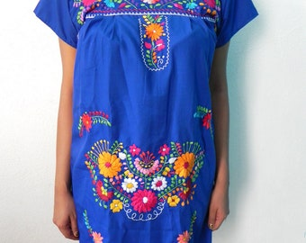 Mexican Blue Romantic Dress Lovely Color Rooster Handmade Embroidery Spring / Summer Small / Medium