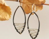 Black Steel Leaf Dangle Earrings with Silver