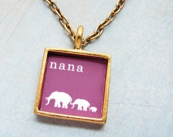 Gold Custom Grandmother's Mother's Necklace - A Grandma to Follow- Gold Square Bird Custom Personalized Baby