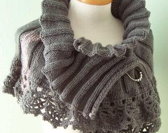 STELLA, Knit & crochet capelet pattern, pdf