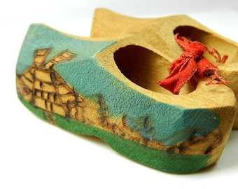 Wooden Dutch Shoes, Hand Carved Clogs, Miniature Shoes, Holland Dutch Shoes, Small Shoes