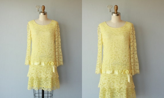 1960s dress / lace 60s dress / yellow lace party dress / tiered cocktail dress - size small , medium