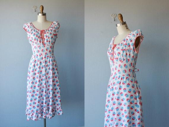 1930s dress / 30s dress / 30s gauze cotton dress / polka dot dress / summer dress - size small